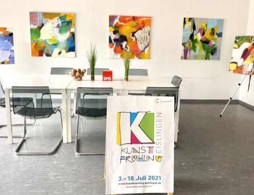 """Veronika Knoblauch beim Geislinger Kunstfrühling: Neue Ausstellung """"Farbe mit Linien"""" im Wahlkreisbüro Geislingen"""